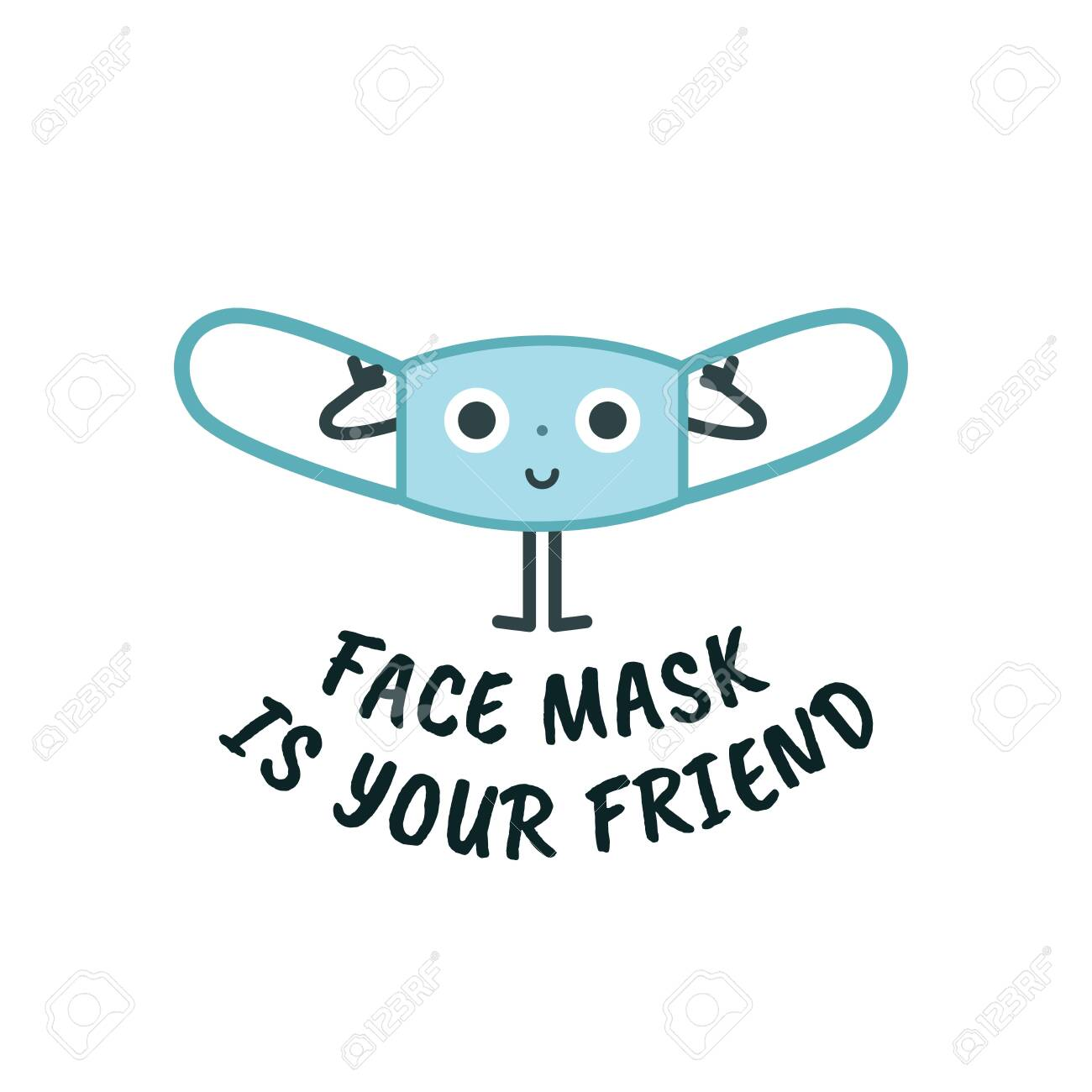 Mask cute character, virus protection sign concept for children, vector illustration - 148200321