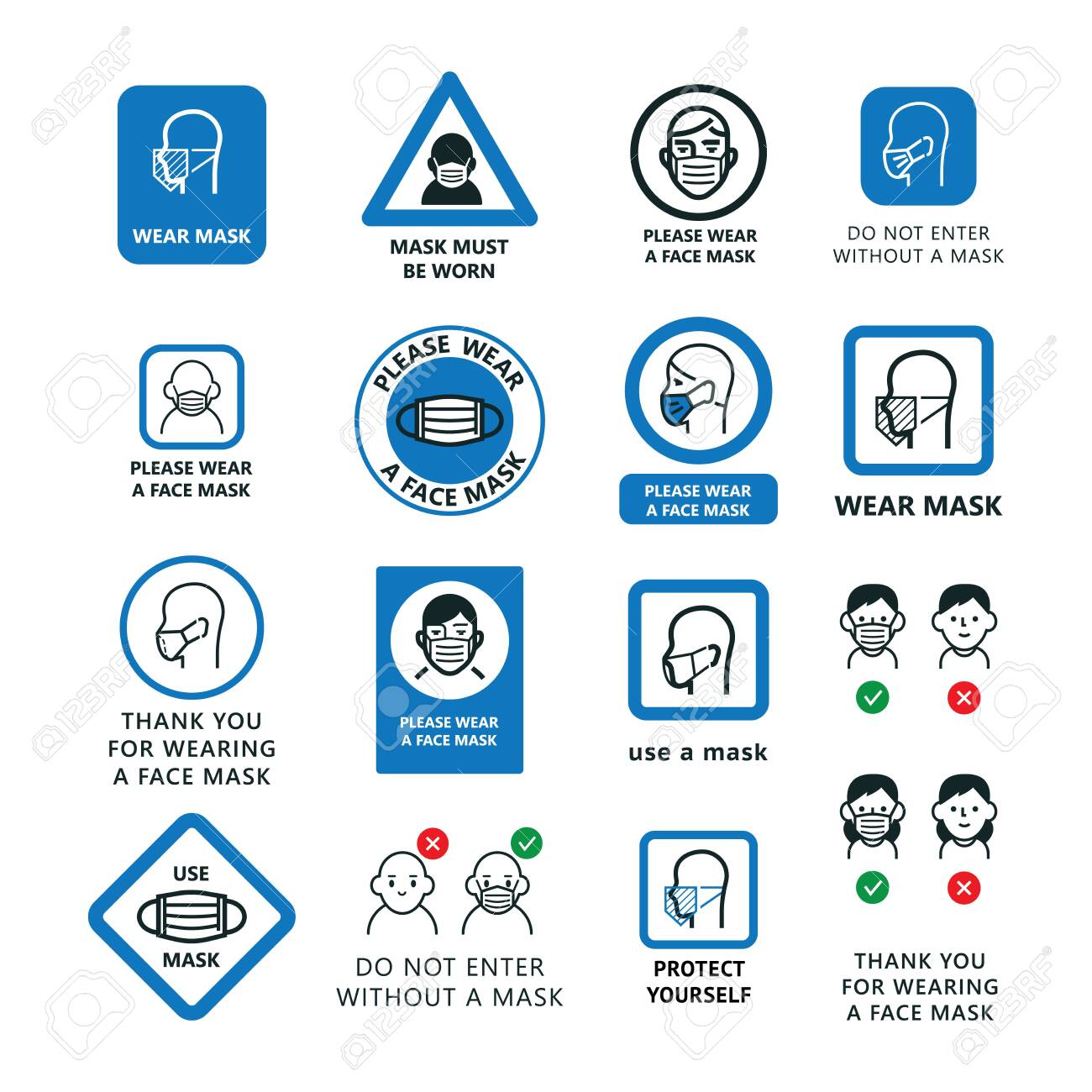 Warning signs to wear a face shield, mask. A large set of icons of people in masks, plates, images indicating attention. - 148200322