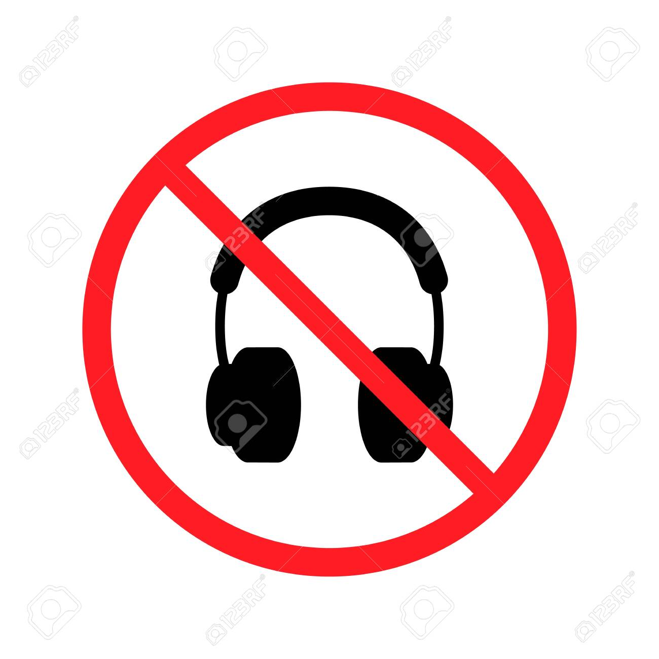 No headphones signs on white background. Vector illustration. - 148200328