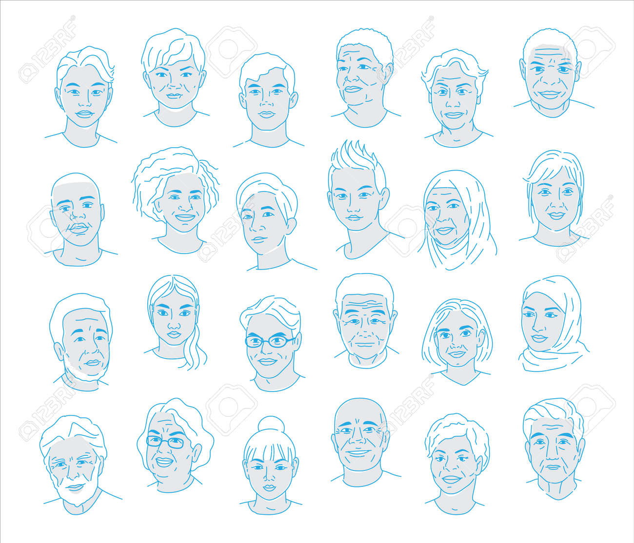 A collection of portraits of people of different nationalities and ages. Men and women of all races. Icons for user research experience, customer profile. - 150719696
