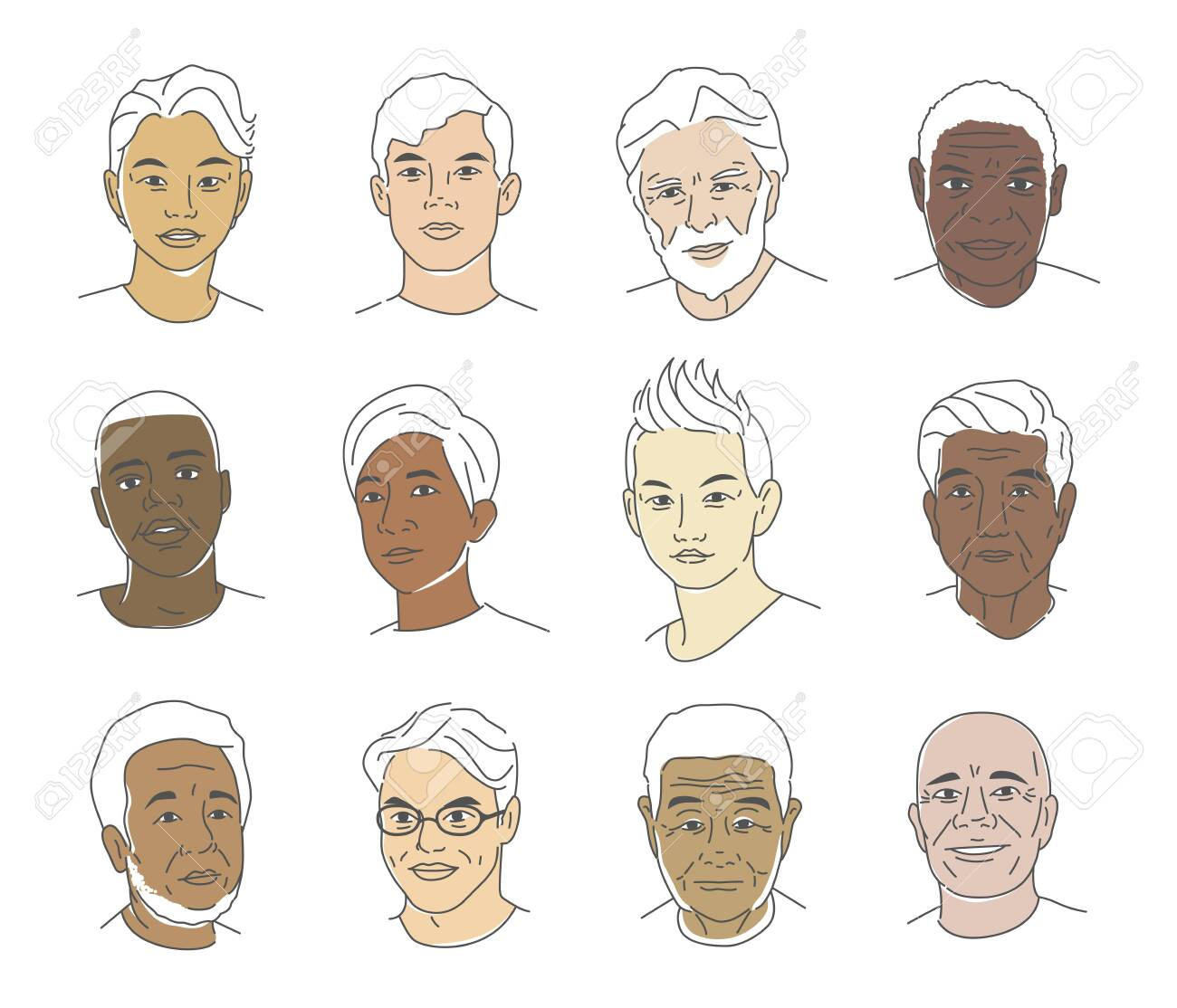 A collection of portraits of people of different nationalities and ages. Men of all races. Icons for user research experience, customer profile. - 150719699