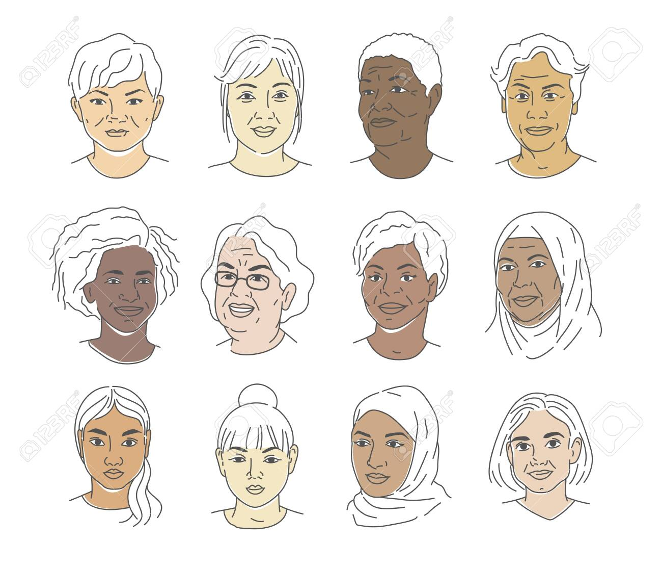A collection of portraits of people of different nationalities and ages. Women of all races. Icons for user research experience, customer profile. - 150719700