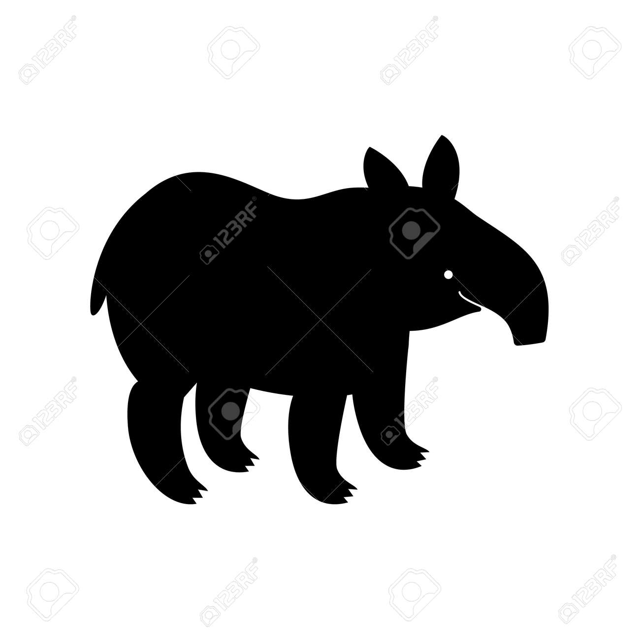 Tapir, animal, vector path for laser cutting, shadow black color, cute childish flat style. - 157901523