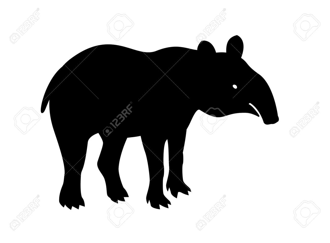 Tapir, animal, vector path for laser cutting, shadow black color, cute flat style. - 157901542