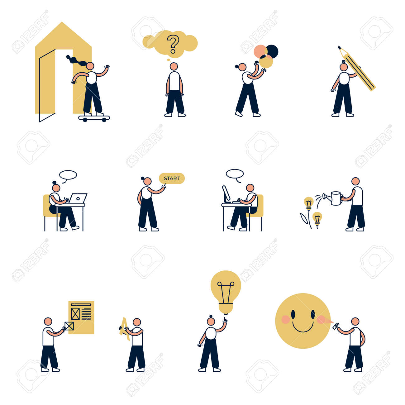 Infographic illustration, The main stages of the creative design process, small people in action vector. Graphic editor computer app icon set. - 157859010