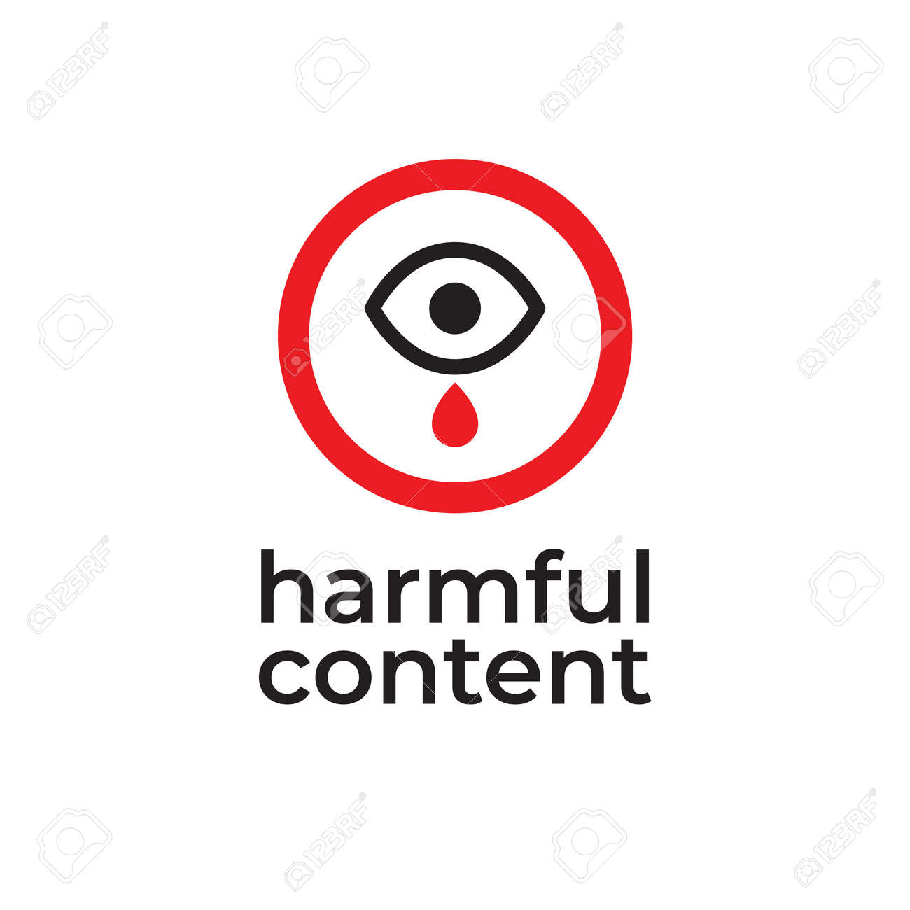 Parental control icon, vector clip art. Harmful content. Warning sign, notice, danger sign. Social problem. - 163226509
