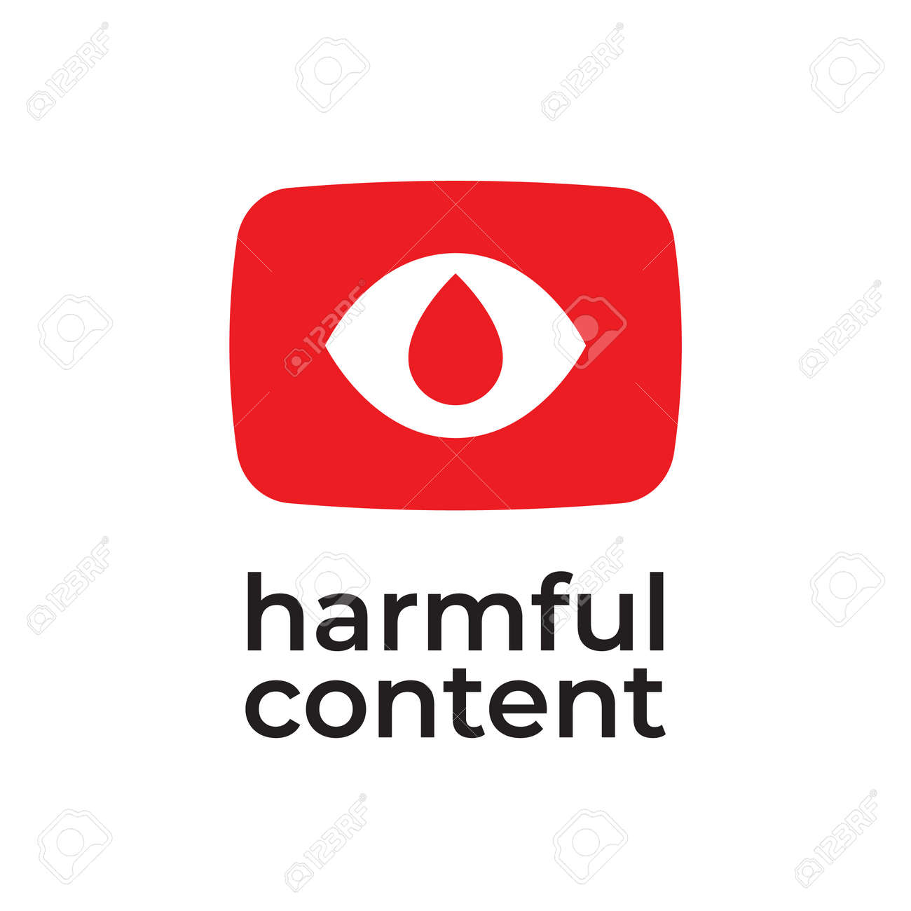Parental control icon, vector clip art. Harmful content. Warning sign, notice, danger sign. Social problem. - 163226510