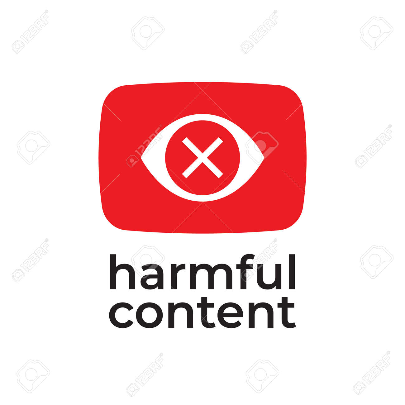 Parental control icon, vector clip art. Harmful content. Warning sign, notice, danger sign. Social problem. - 163226511