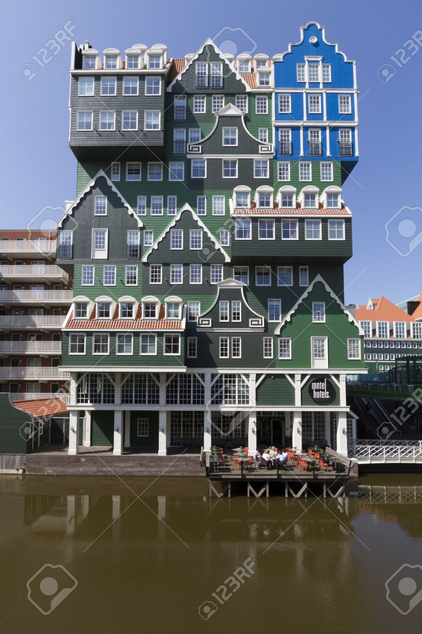 Zaandam, the Netherlands Eccentric modern architecture of hotel in city  center of Zaandam, consisting