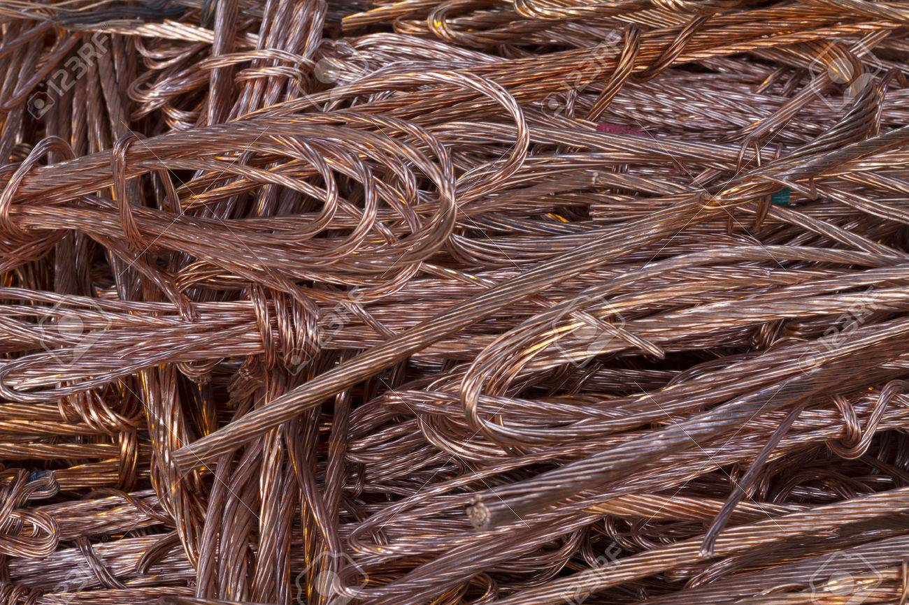 Large Heap Of Twisted Copper Wire Collected For Recycling Stock ...