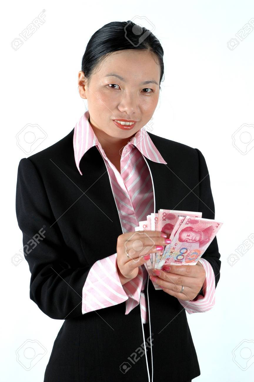Elegant Asian Asian Office Lady Holding Chinese Money Rmb Banknotes Counting