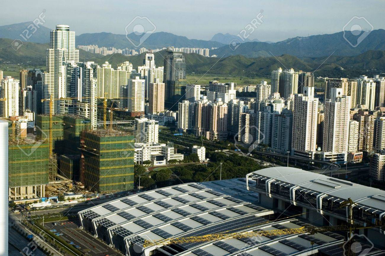 Chinese metropolis - modern Shenzhen city with office's skyscrapers, hotels and residential buildings. Stock Photo - 3498090