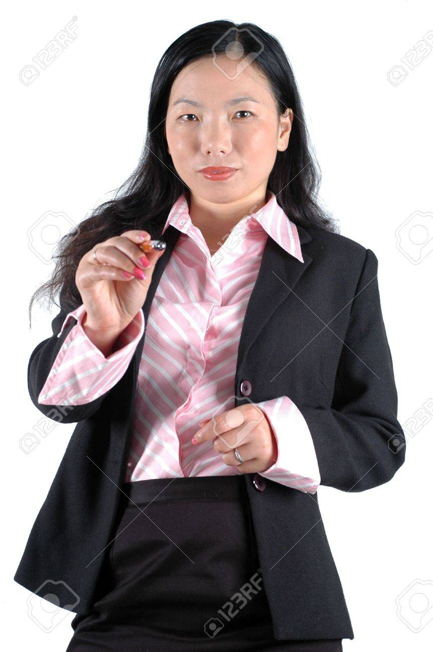 asian office clerk pointing pen wearing lady s suit and shirt asian office clerk pointing pen wearing lady s suit and shirt stock photo 3714269