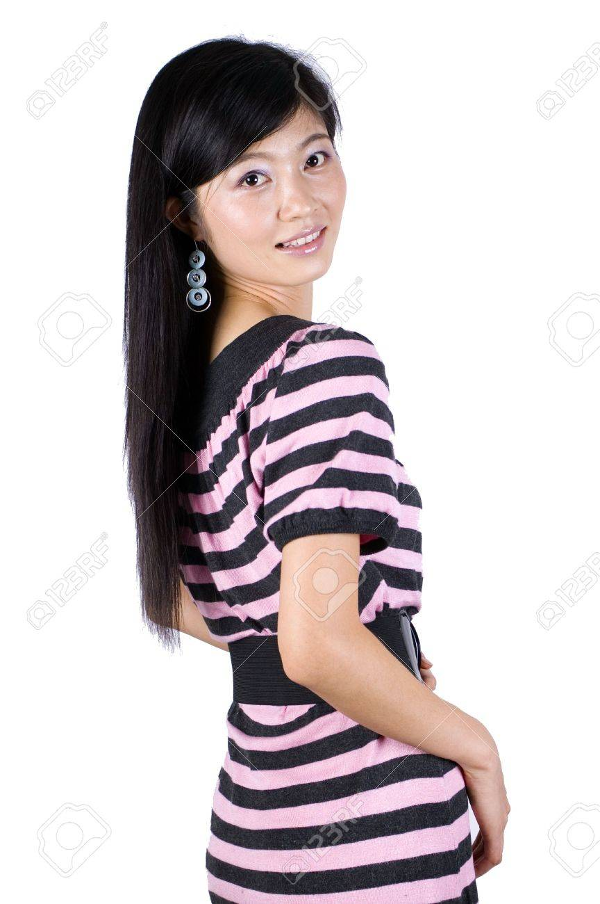 Moda, chica bastante asiática. Young China modelo, tipo, amable, feliz, positivo. Foto de archivo - 5318039