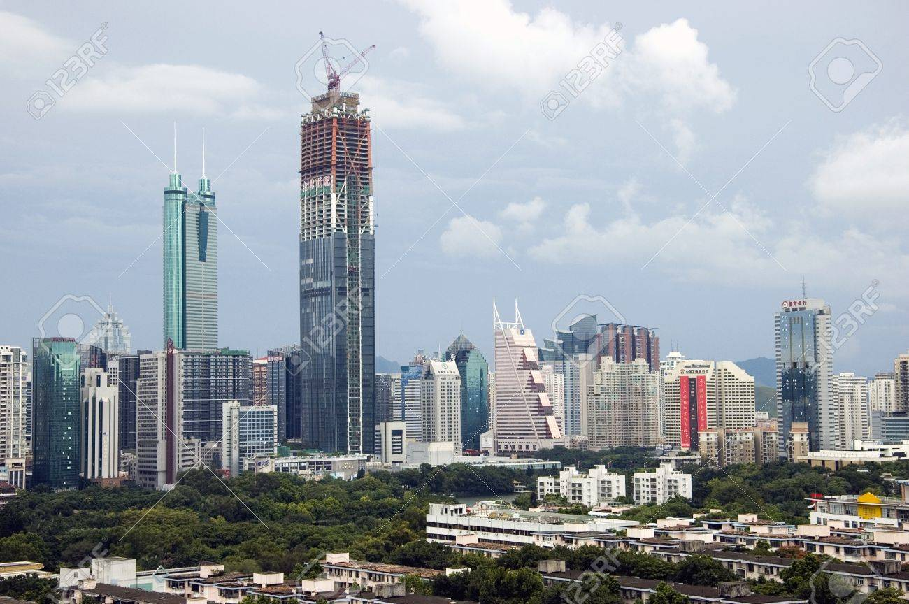 SHENZHEN, CHINA - SEPTEMBER 14: Two, highest skyscrapers in Shenzhen on September 14, 2010. Shun Hing Square, named also as DiWang - 384 meters and Kingkey Finance Tower � 441 meters, still under construction. Stock Photo - 9350472