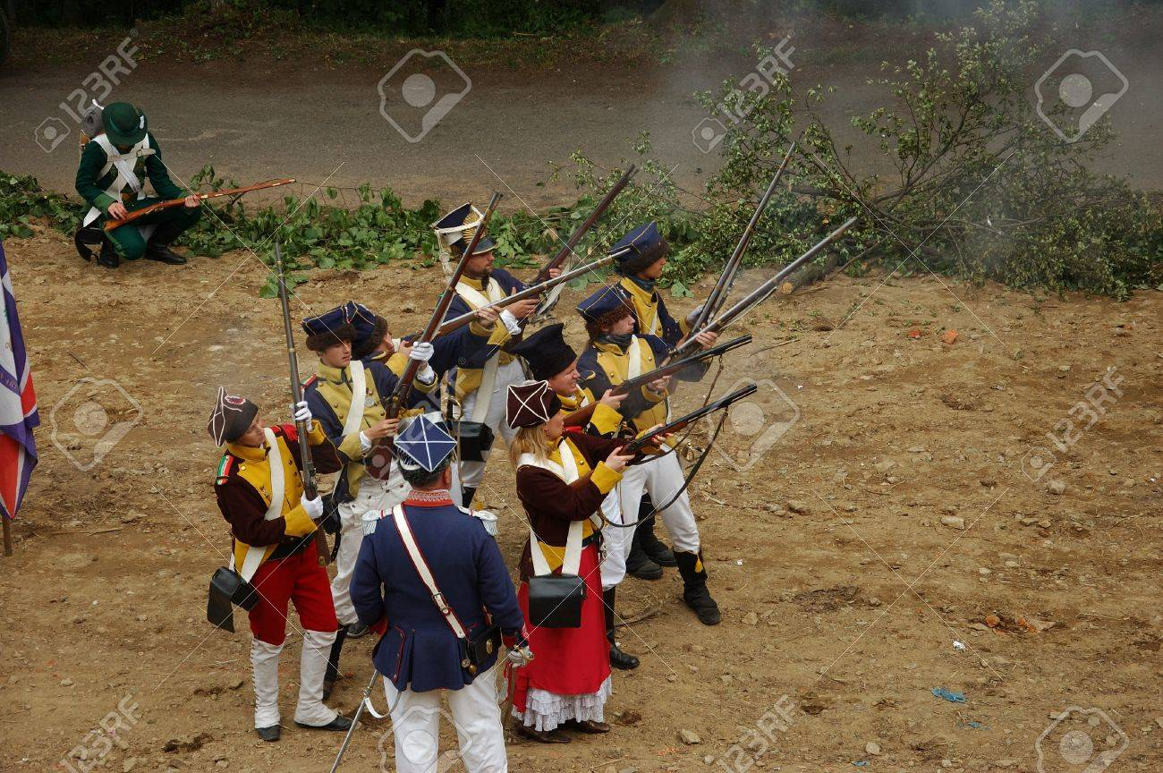 SREBRNA GORA, POLAND - JUNE 11: 1807 Napoleon's forces battle reconstruction, siege of the Srebrna Gora fortress. Polish musketeer attack on June 11, 2011. Stock Photo - 10321718