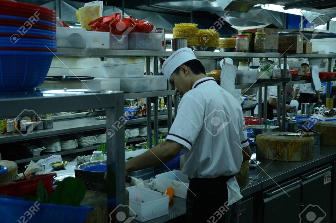 SHENZHEN, CHINA - SEPTEMBER 8: Unidentified Chinese Chefs Work ...
