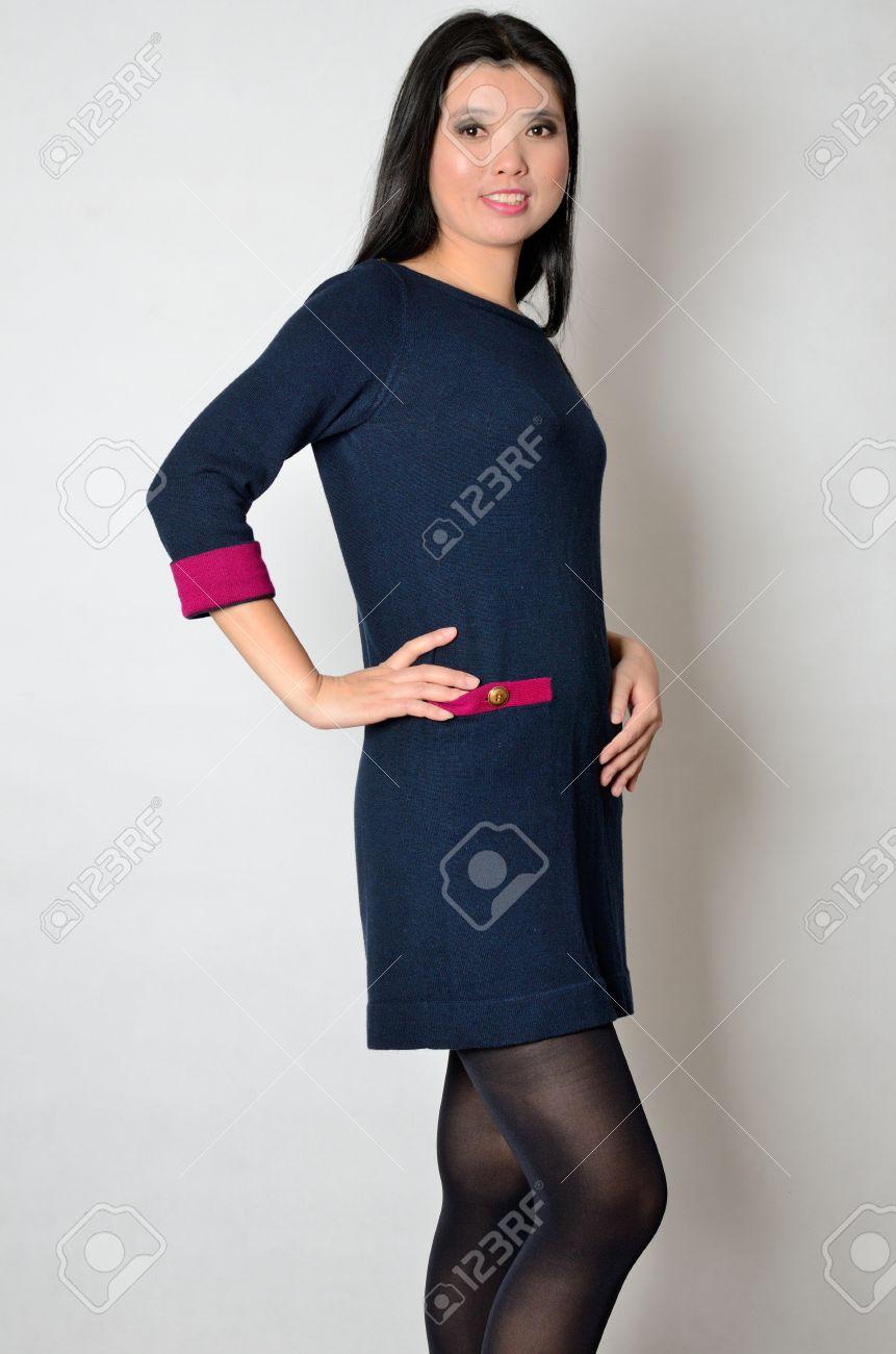 Vestido azul marino mujer
