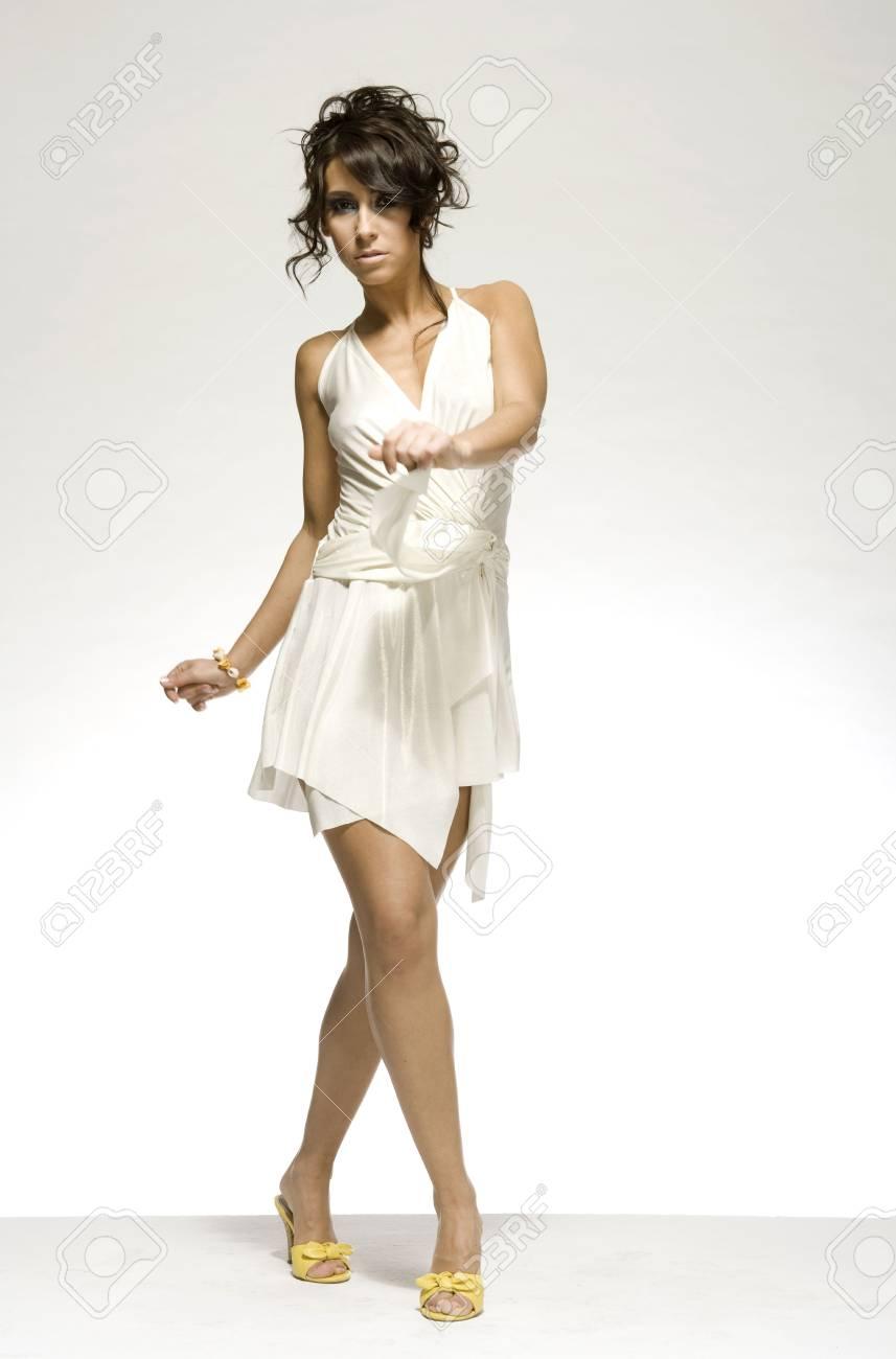 Beautiful Brunette Girl Wearing White