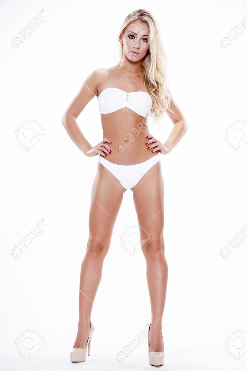 Perfecto En Mujer Fondo Atractiva Trajes Baño Blanco Rubia Aislado De BlancoCuerpo Vistiendo rCxodeB