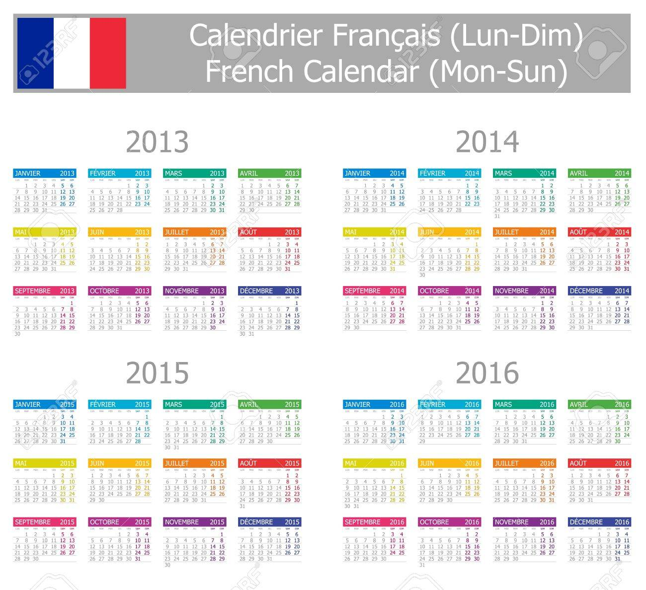 2013-2016 Type-1 French Calendar Mon-Sun on white background Stock Vector - 13210305
