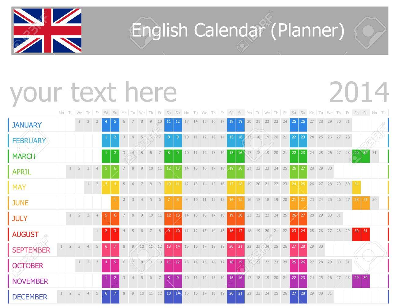 2014 Calendario Planificador De Inglés Con Meses Horizontales Fotos ...