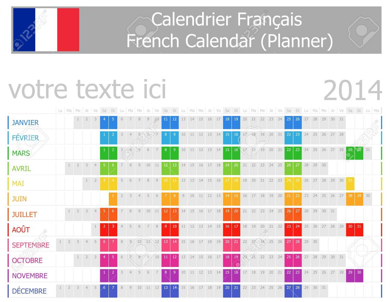 2014 French Planner Calendar with Horizontal Months Stock Photo - 17180963