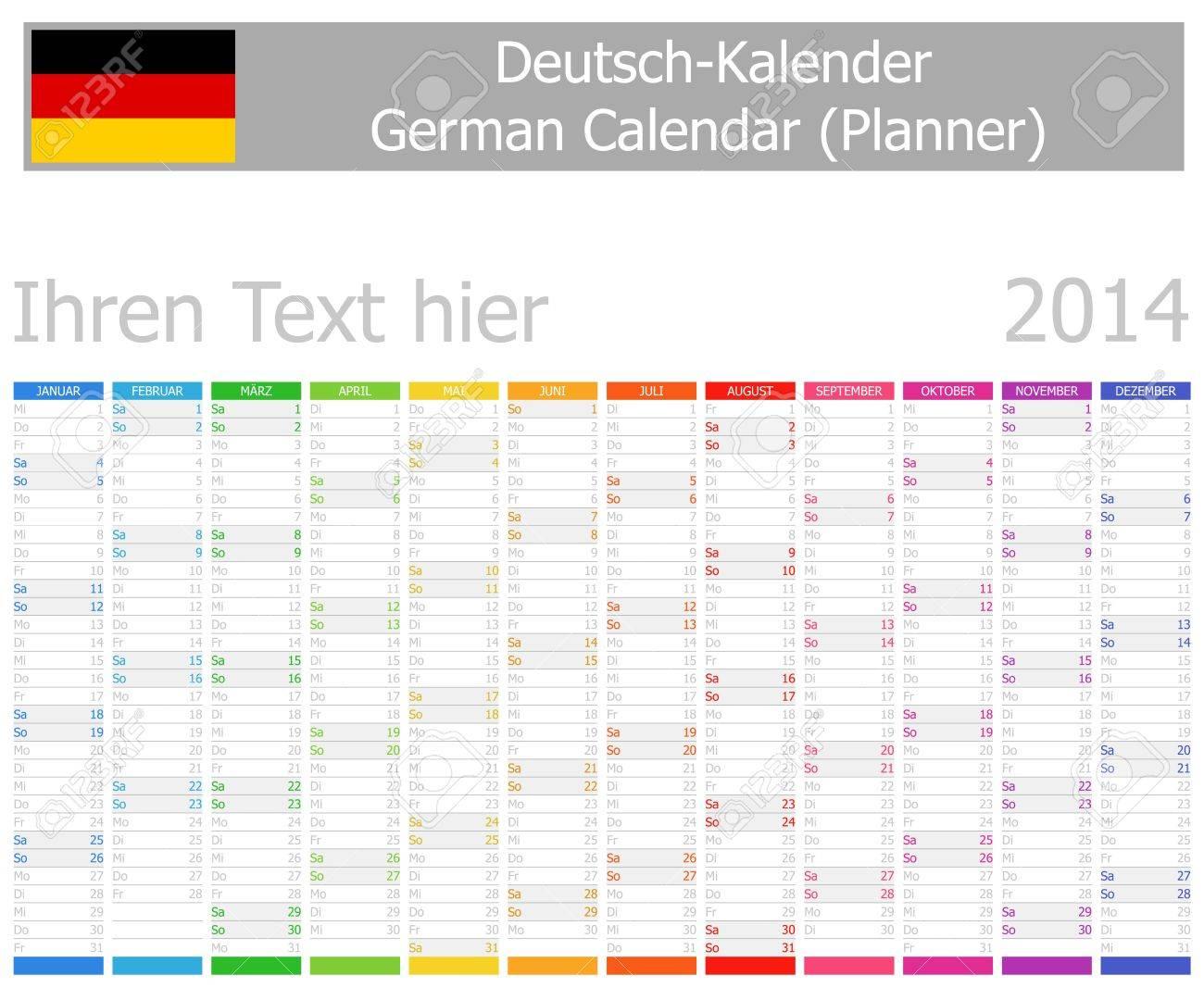 2014 German Planner Calendar with Vertical Months Stock Photo - 17180940