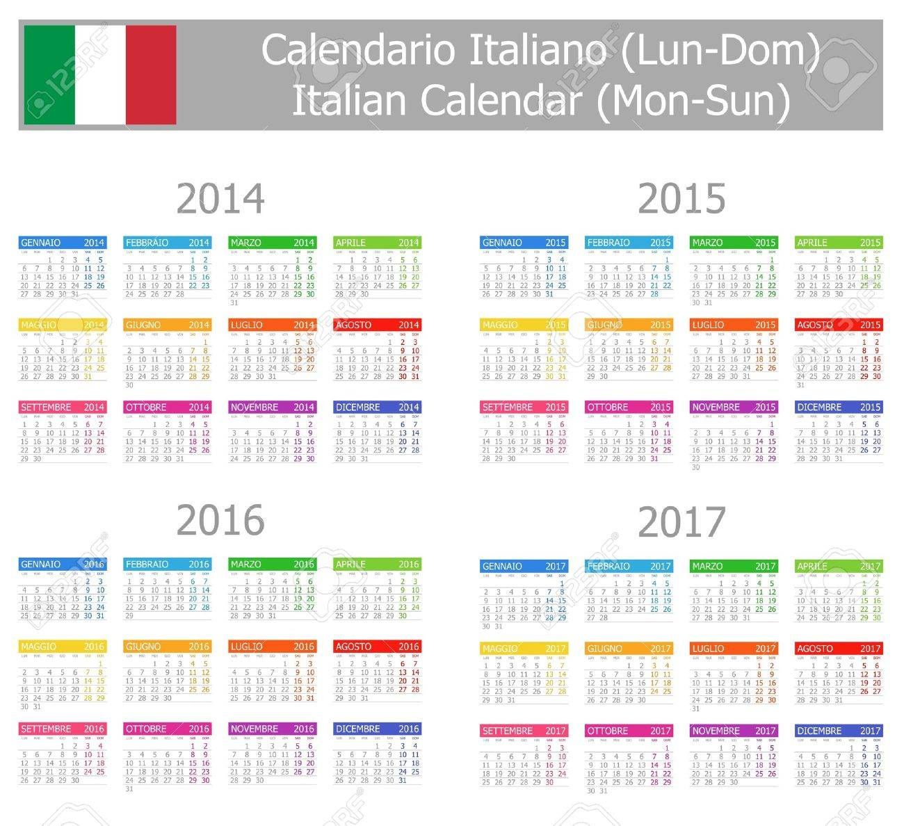 2014-2017 Type-1 Italian Calendar Mon-Sun Stock Photo - 17180976