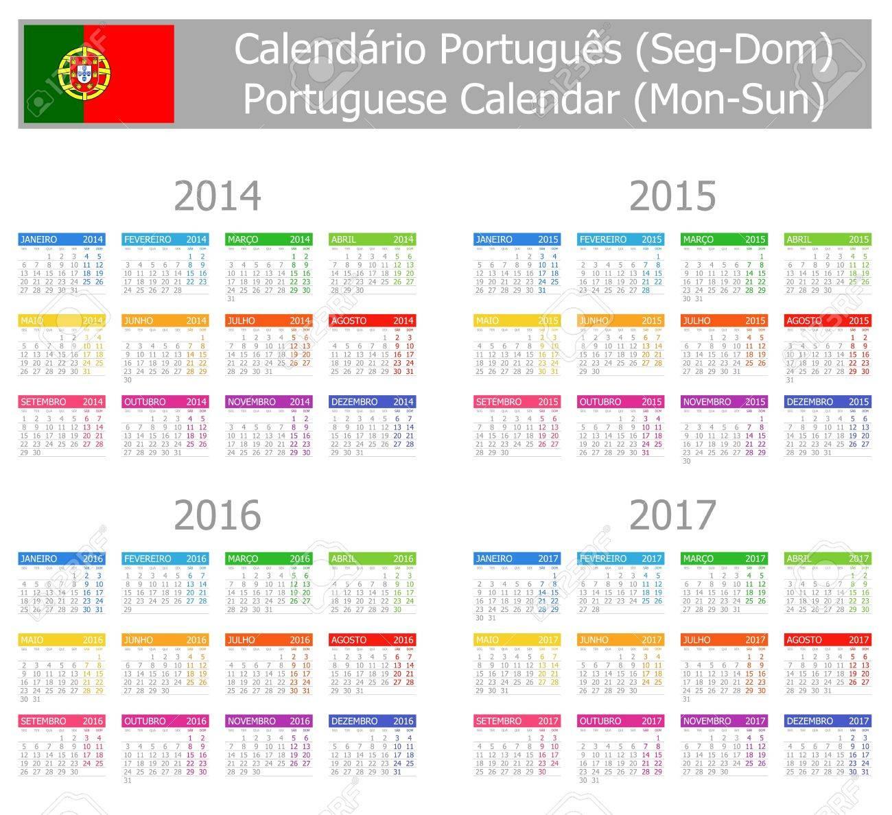 2014-2017 Type-1 Portuguese Calendar Mon-Sun Stock Photo - 17180997