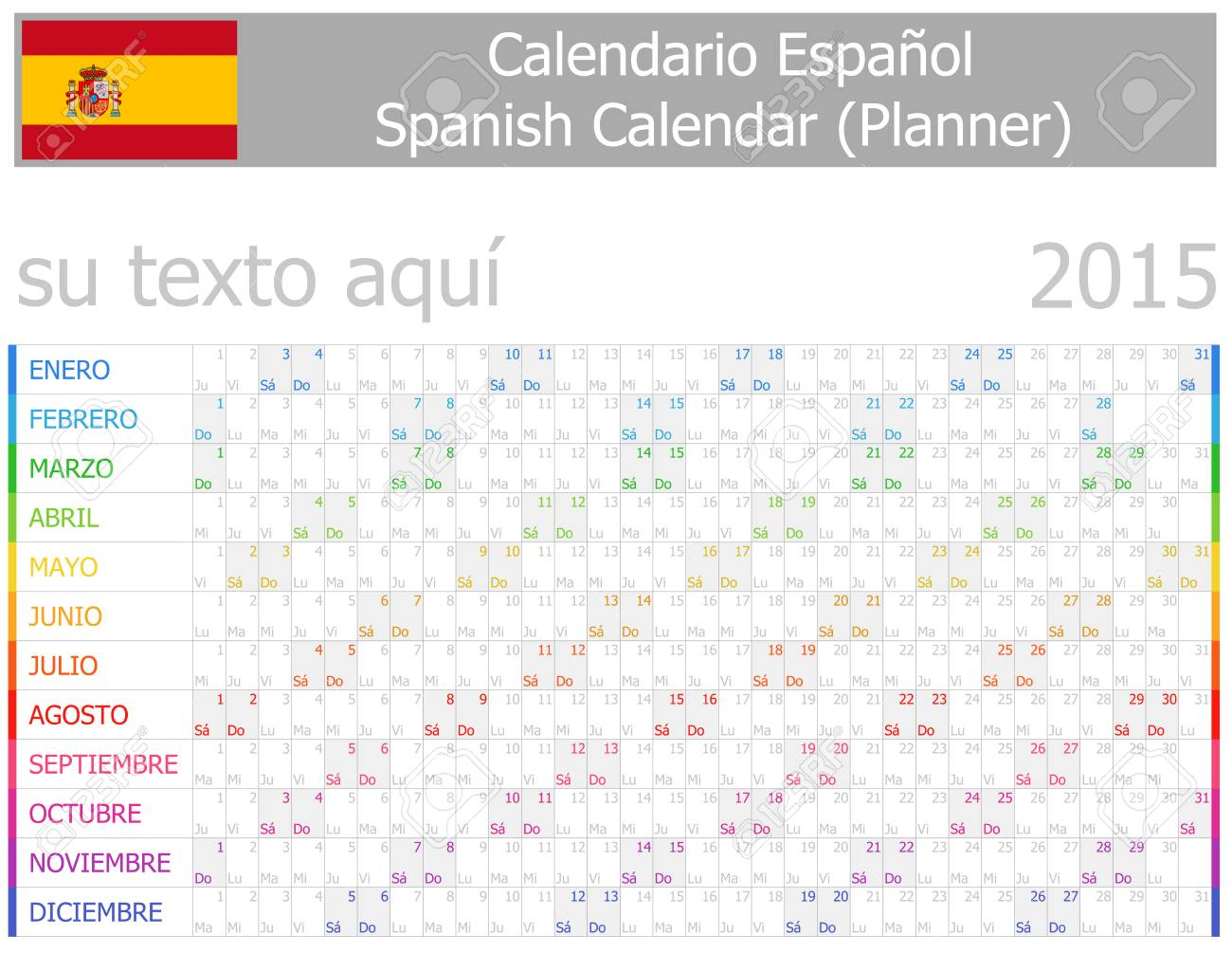 2015 Spanish Planner-2 Calendar with Horizontal Months on white background Stock Vector - 24810182