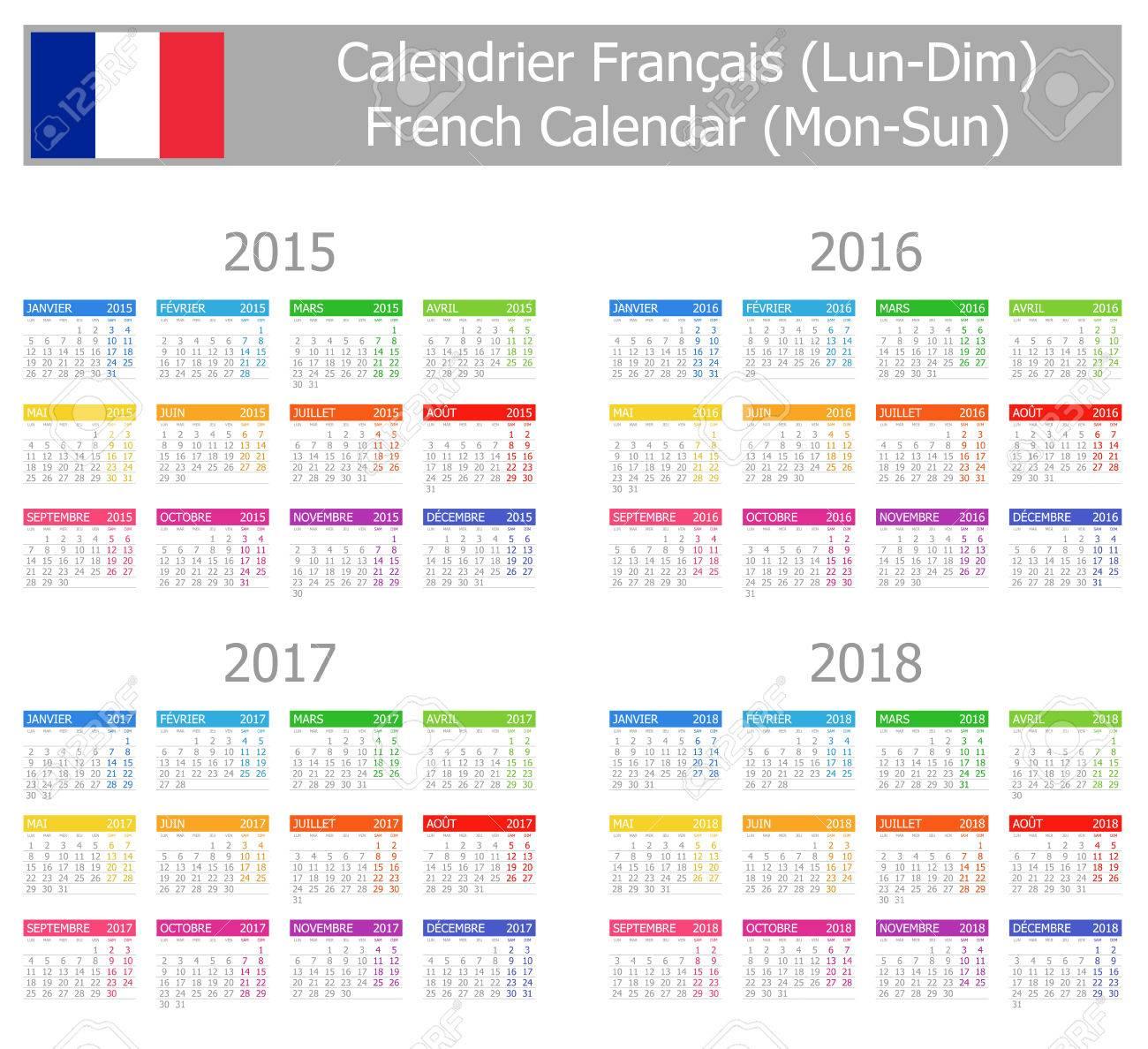 Calendrier Soleil.2015 2018 Type 1 Calendrier Francais Lun Soleil Sur Fond Blanc