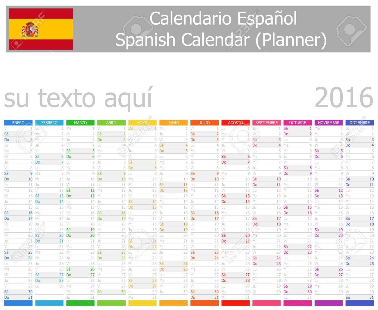 2016 Español Calendario Planificador Con Meses Verticales Sobre ...