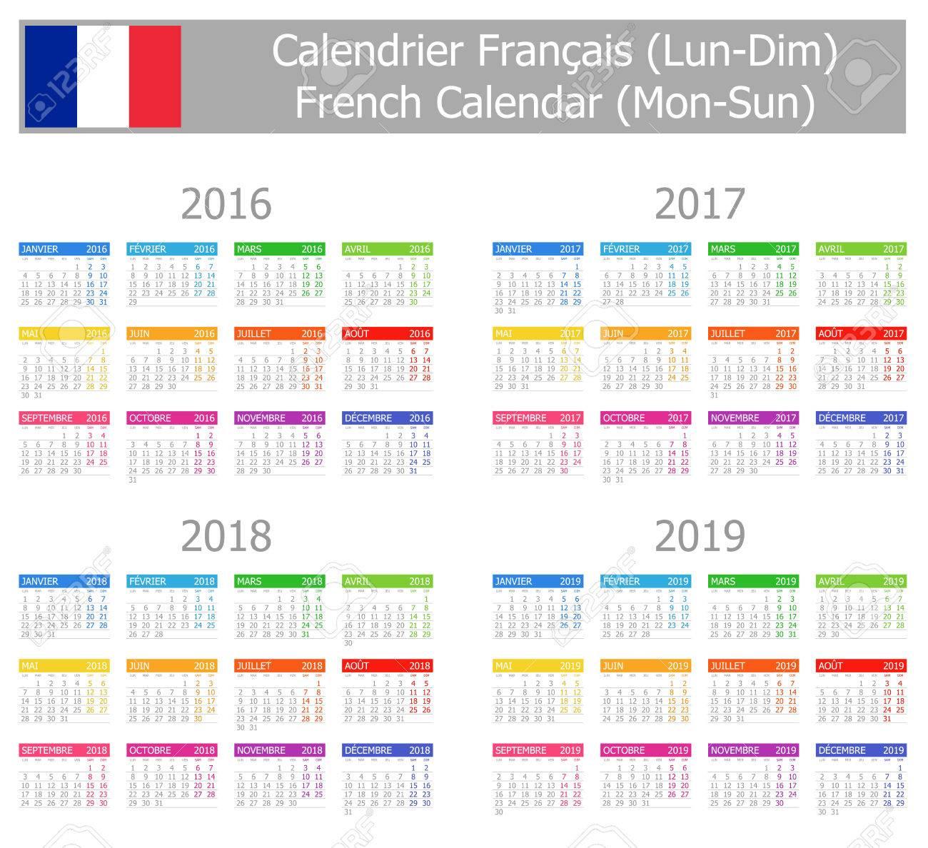 Calendrier Francais 2019.2016 2019 Type 1 Calendrier Francais Lun Dim Sur Fond Blanc