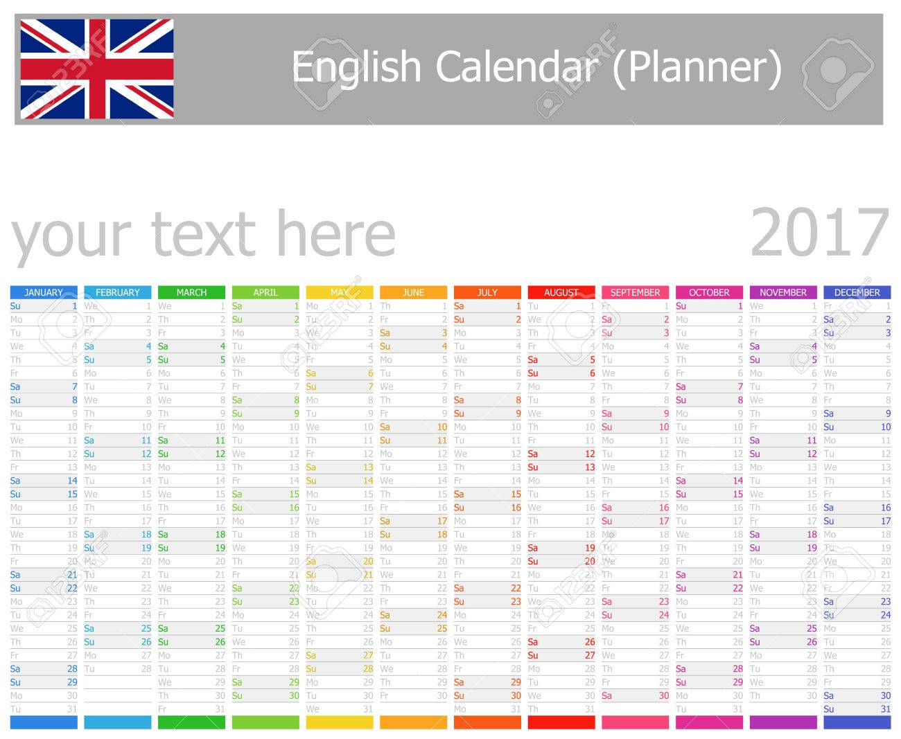 2017 English Planner Calendar With Vertical Months On White ...