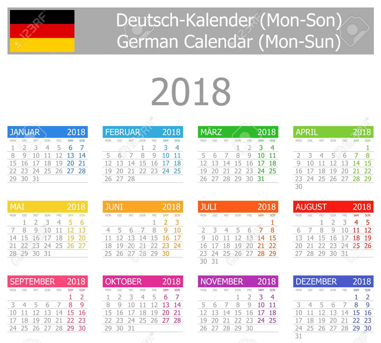 2018 german type 1 calendar mon sun on white background stock vector 69354584