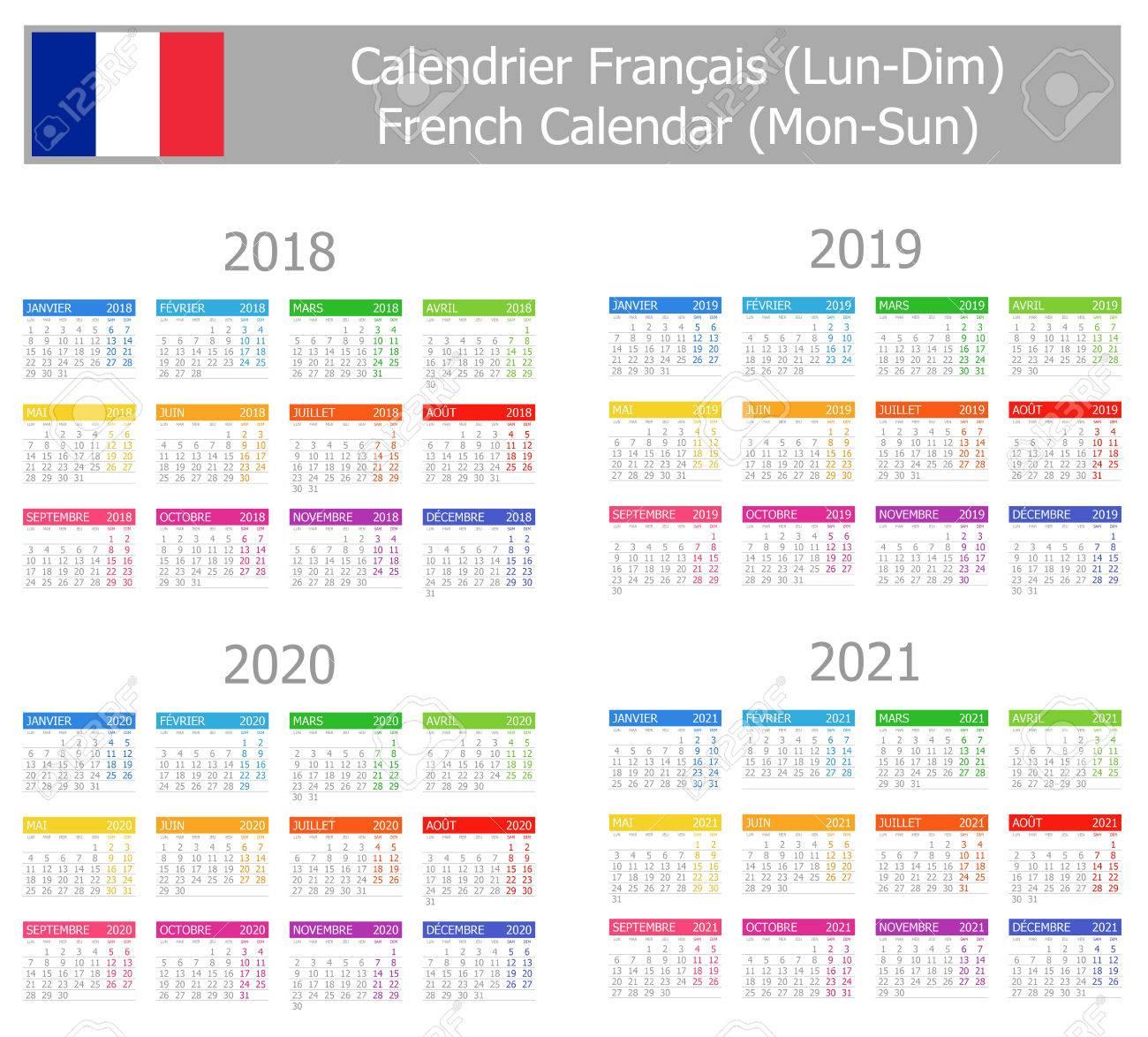 Calendrier 2018:2021 2018 2021 Calendrier Français Type 1 Mon Soleil Sur Fond Blanc