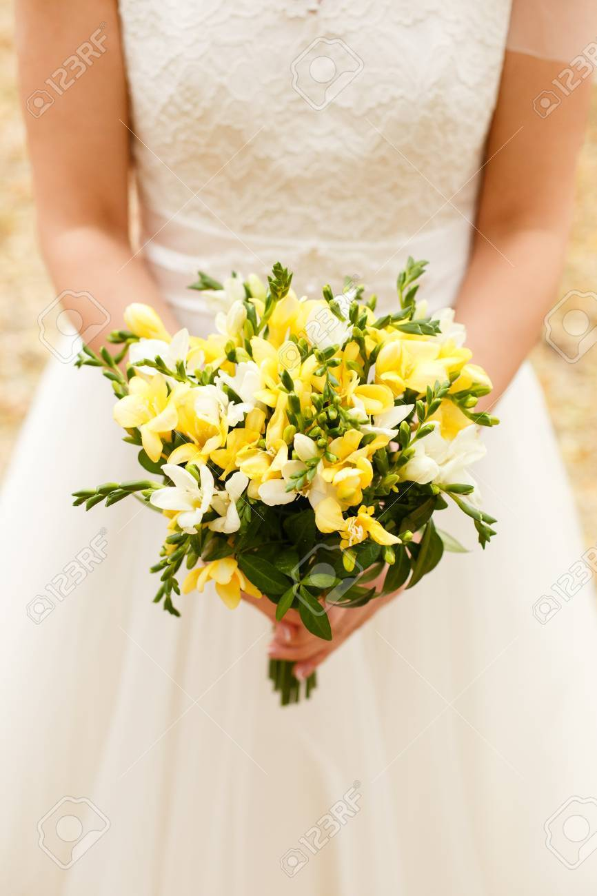 Bouquet Sposa Fresie.The Bride Is Holding A Wedding Bouquet Of Yellow Freesias Stock