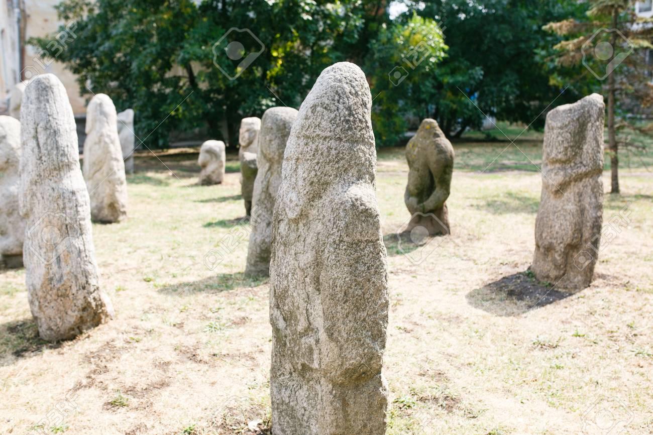Scythian Anthropomorphic stone sculptures in Berdyansk, Ukraine - 90098916
