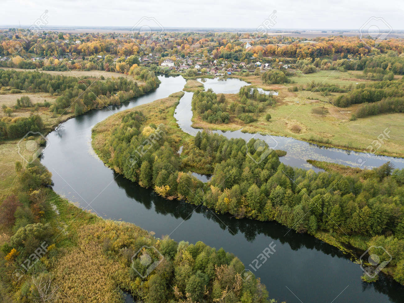Aerial view of river Snov in autumn near village of Sednev, Chernihiv region, Ukraine. - 167297955