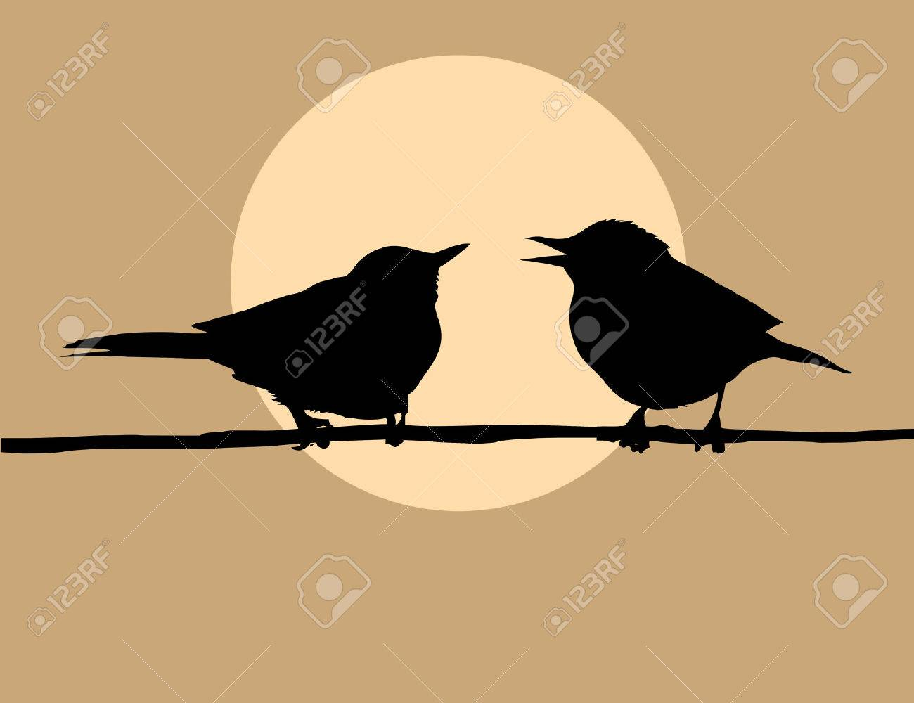 silhouette two birds on background sun Stock Vector - 5948917
