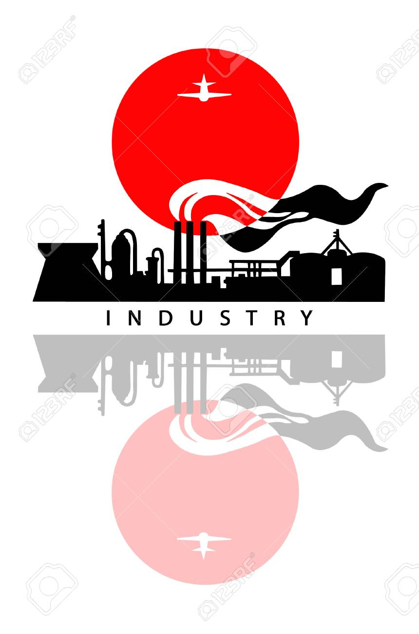 industrial landscape on white background Stock Vector - 6657944