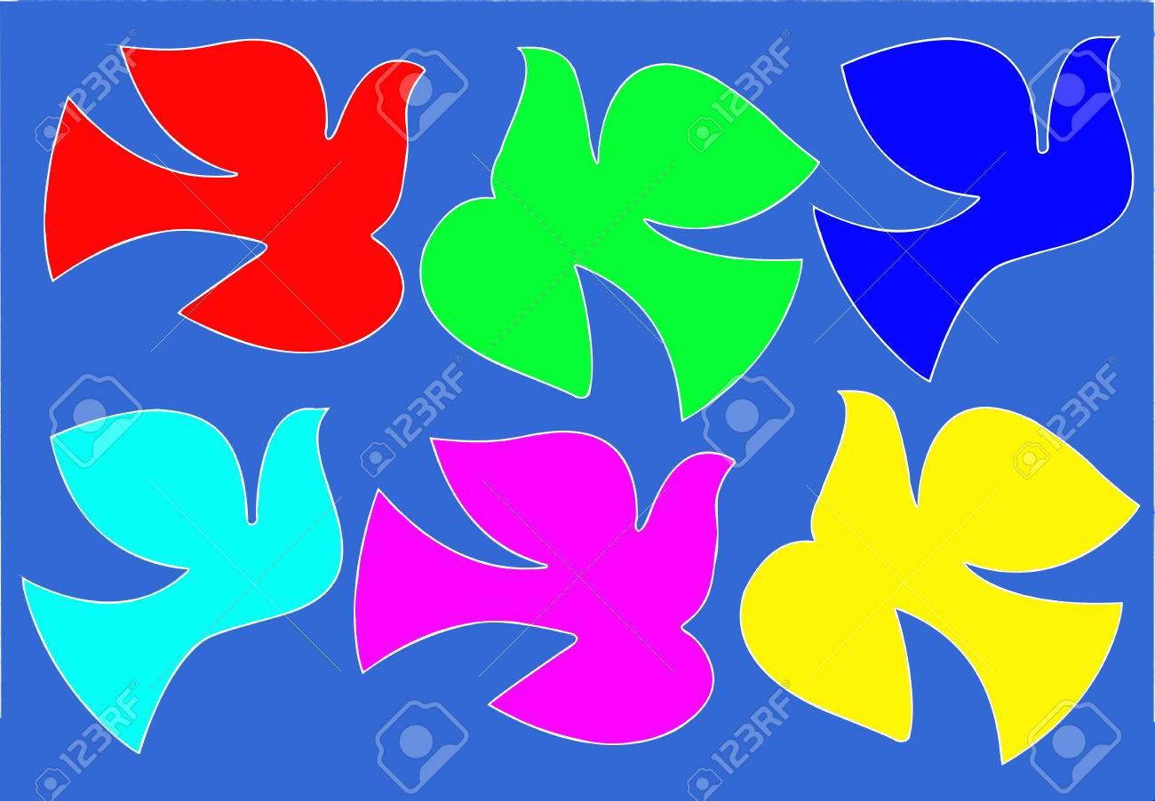 silhouette varicoloured dove on  blue background Stock Vector - 7038650