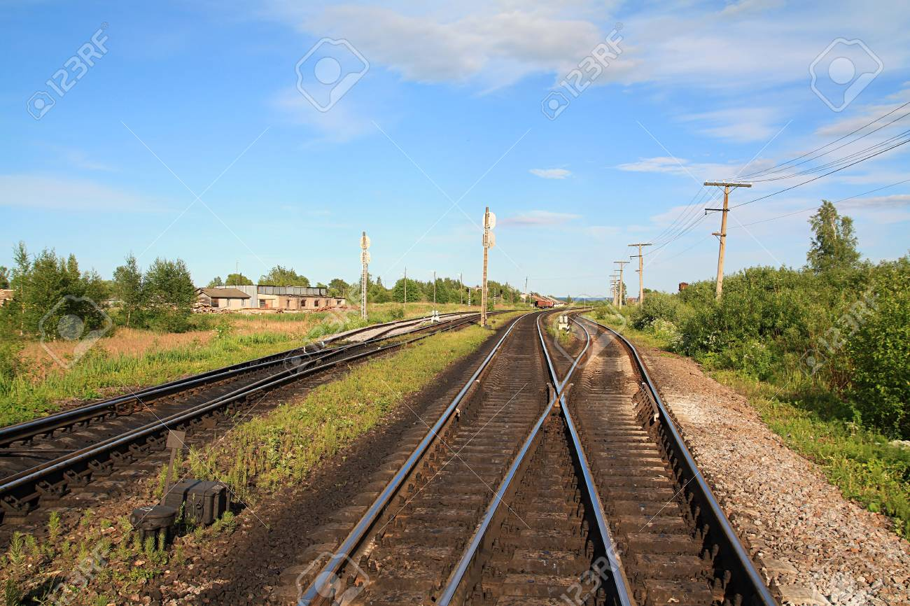 railway near small station Stock Photo - 7656271