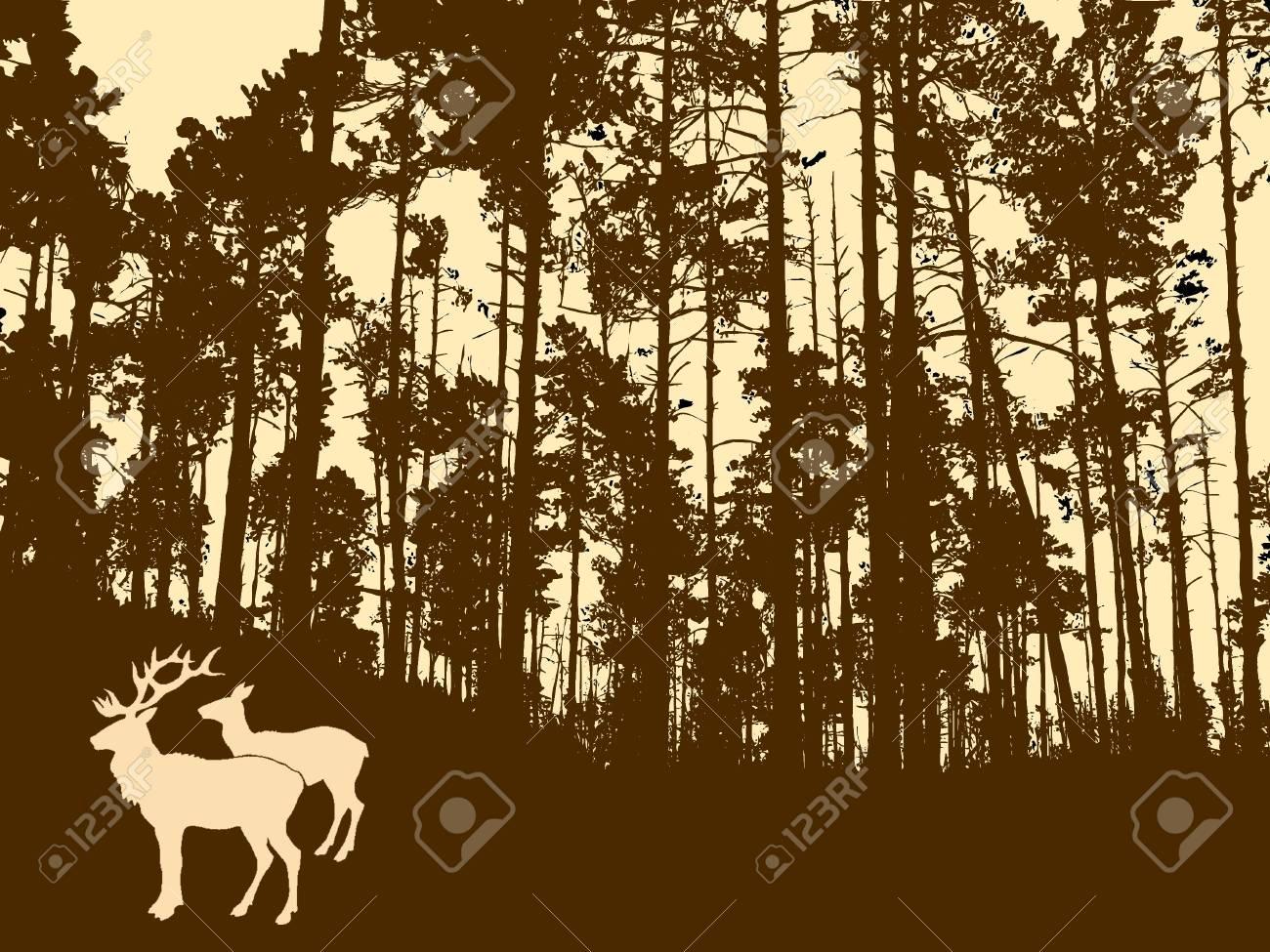 silueta de los venados en madera gruesa  Foto de archivo - 7656906