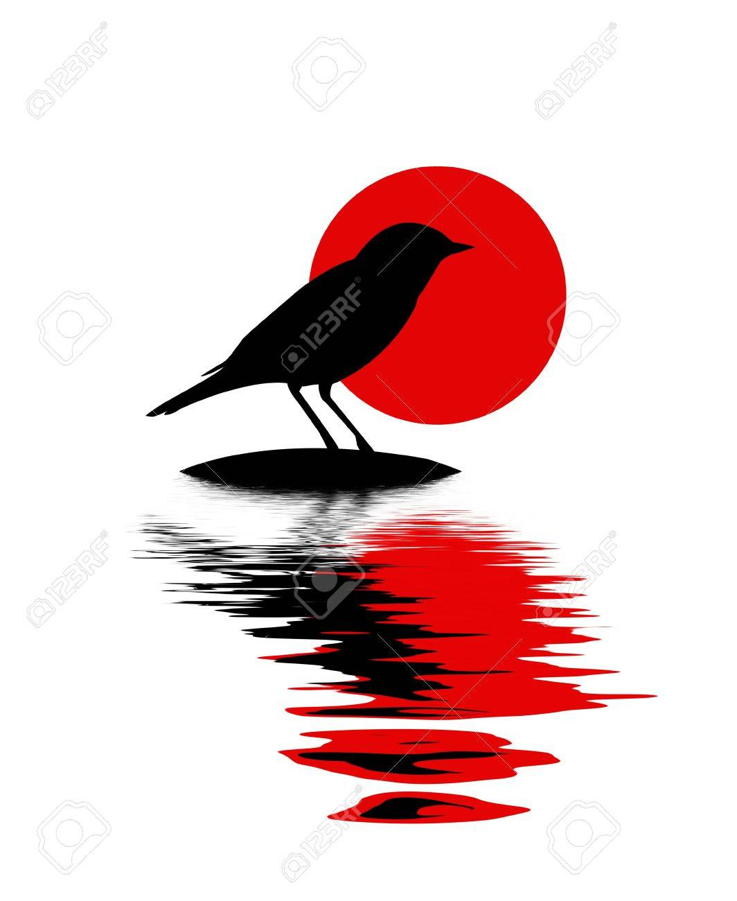 silhouette of the bird on stone amongst water Stock Vector - 7705052