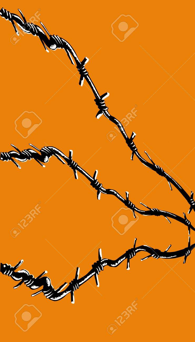 illustration of the barbed wire on orange background Stock Vector - 7735692