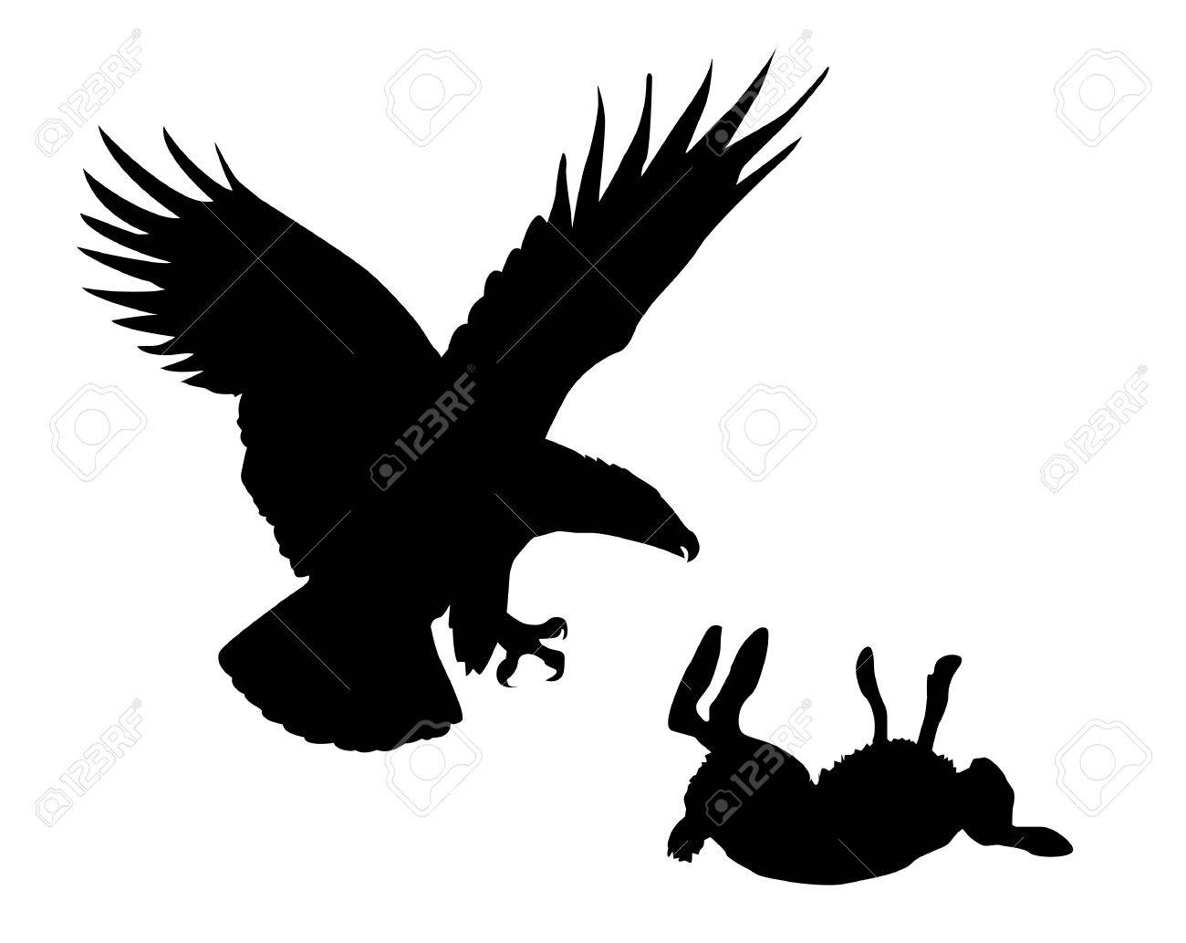 illustration eagle and hare on white background Stock Vector - 7780089
