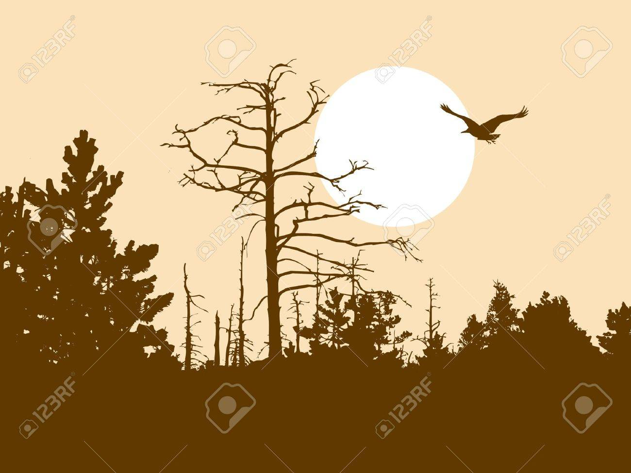 silhouette old wood on brown background Stock Vector - 7780565