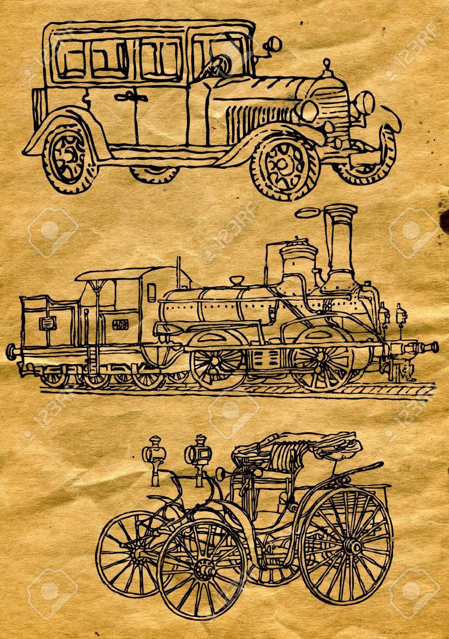 drawings on old paper Stock Vector - 8271753
